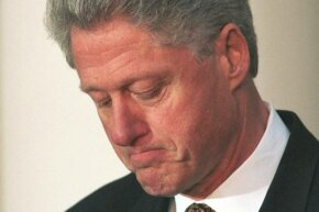 President Bill Clinton pauses as he apologizes to the U.S. on Dec. 11, 1998 for his conduct in the Monica Lewinsky affair.