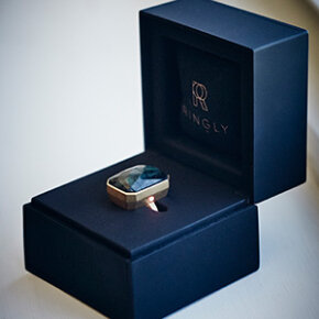 The Ringly's ring box doubles as a charger for the smart ring when plugged into a USB outlet.