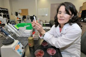 Dr. Christine Lee, an infectious disease physician, poses in a lab at St. Joseph's Healthcare in Hamilton, Ontario. Dr. Lee has performed 100 stool transplants that cure patients hit by  Clostridium difficile.