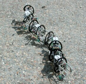 A third-generation model of a snakebot being developed for Mars exploration