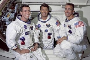 The sniffling, sneezing astronauts of the Apollo 7 mission: Donn Eisele, Walter Schirra and Walter Cunningham.