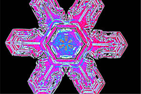 """That colorized photo of a snowflake was snapped all the way back in 1902, courtesy of Vermonter Wilson """"Snowflake"""" Bentley."""