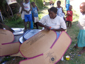 Solar cookers are inexpensive and simple to make: Most require only cardboard, foil and a pot.