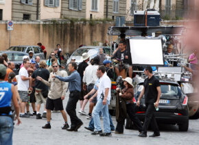 """Background noises might interfere with the actors' lines. Here, Tom Hanks works on the set of """"Angels and Demons."""""""