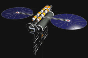 A counterweight at the end of the space elevator will keep the carbon-nanotubes ribbon taut.