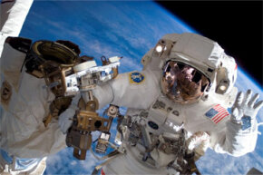 Being an astronaut is awesome. It's also awesomely hard, as Clay Anderson here can probably attest. Anderson was waving to the camera after a session of EVA outside the International Space Station in 2007.