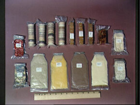 Mercury astronauts had primitive space food. Pictured are packets of mushroom soup, orange-grapefruit juice, cocoa beverage, pineapple juice, chicken with gravy, pears, strawberries, beef and vegetables.