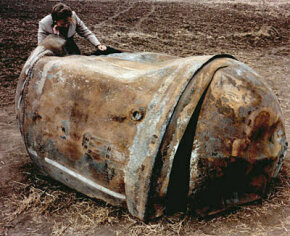 A main propellant tank of a Delta 2 launch vehicle which landed in Georgetown, Texas, on Jan. 22, 1997.