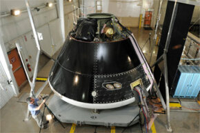 The Multi-Purpose Crew Vehicle being assembled and tested at Lockheed Martin's Vertical Testing Facility in Colorado