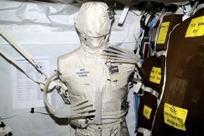 The Phantom Torso, seen here on the International Space Station (2001), measures the effects of radiation on organs inside the body, using a torso similar to those used to train radiologists on Earth.