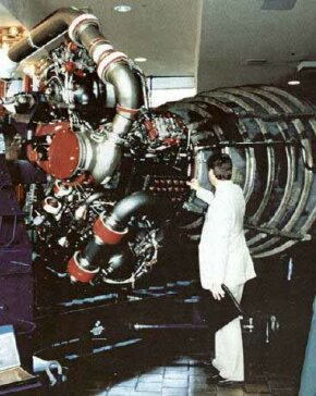 One of the space shuttle's main engines