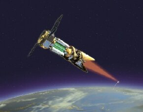 Artist rendering of how a TRW designed space laser-equipped satellite might fire a laser at a ballistic missile from long range.