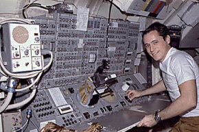 A space warning system is vital to protect astronauts in orbit. This is astronaut Ed Gibson on Skylab-4.