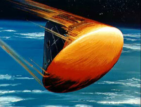 An artist's rendering of the Apollo command module's re-entry into the Earth's atmosphere.