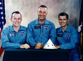 Edward White, Virgil Grissom and Roger Chaffee, the astronauts who died during the Apollo 1 tragedy.
