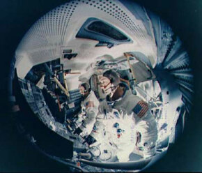 A fish-eye view of a lunar module simulator. Looks cozy, doesn't it?