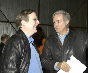 Paul Allen and Burt Rutan discuss the results of a recent SpaceShipOne test flight.