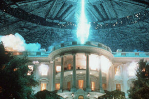 """Special-effects artists built a miniature model of the White House to create this scene in the movie """"Independence Day"""". See more movie making pictures."""
