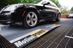 MotionPower generates electricity as a car drives over the device at the Four Seasons Hotel in Washington, DC.