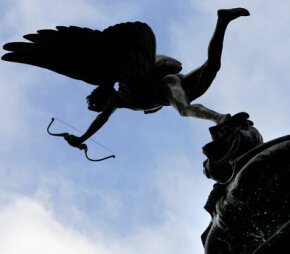 A statue of Eros, the god of romantic and sexual love.