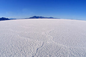 The Bonneville Salt Flats in the Western American state of Utah. See pictures of national parks.