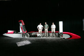 Members of the engineering team from Ohio State University with the Buckeye Bullet in Chicago in June 2005.