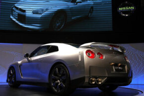 The Nissan GT-R was introduced during the 2007 Tokyo Motor Show in Chiba Prefecture, Japan.