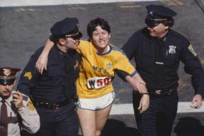 Rosie Ruiz shown moments after crossing the finish line as the apparent women's race winner of the 84th Boston Marathon in 1980.  But not for long.
