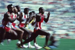 Ben Johnson speeds ahead of the pack to win the 1988 Olympic 100 meter final in a world record 9.79 seconds.