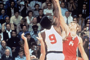 The U.S.A. and the U.S.S.R. at the tip-off of the gold medal game at the 1972 Olympics.  Alexander Belov (No. 14) would score the controversial final point for Russia.