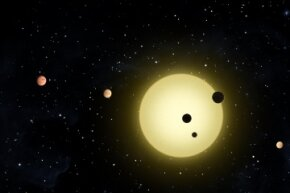 That's Kepler-11, a sun-like star around which six planets orbit. At times, two or more planets pass in front of the star at once. This planetary system was picked up by NASA's Kepler spacecraft on Aug. 26, 2010. Kind of makes you want to start looking, too, doesn't it?