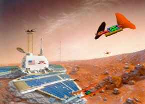 An artist's concept of a team of Entomopters exploring Mars
