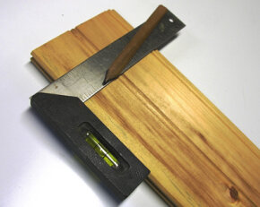 A combination square has a built-in bubble level. See more pictures of hand tools.