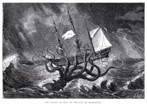 "The Kraken, a mythical giant squid, attacks a ship in an illustration from John Gibson's ""Monsters of the Sea."""