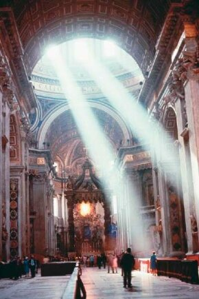 The interior nave of St. Peter's Basilica (1546-64) by Michelangelo in the Vatican.