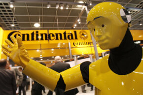 Image Gallery: Car Safety A man dressed as a crash test dummy promotes Electronic Stability Control (ESC) at the booth of auto supplier Continental in Frankfurt, Germany, on Sept. 12, 2007. See more car safety pictures.
