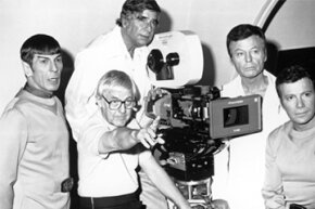 "Gene Roddenberry (second from the left) seemed happy to take this photo -- and half of the royalties from the ""Star Trek"" theme song."