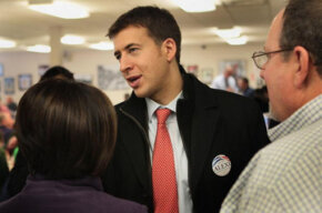 Illinois State Treasurer Alexi Giannoulias campaigns for the Democratic nomination for the state Senate in February 2010.