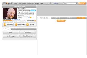 A Stickam member profile page
