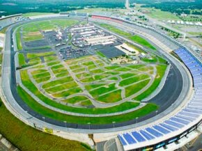 Aerial view of North Carolina Speedway in Charlotte, NC.