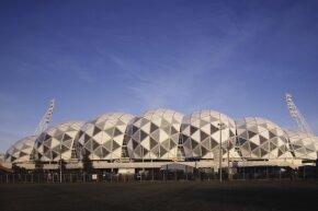 The Buckminster Fuller-inspired Melbourne Rectangular Stadium gets its photo snapped on April 26, 2011.