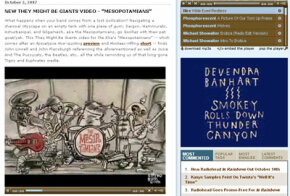 "A video for ""The Mesopotamians"" by They Might Be Giants plays in an embedded Flash player at stereogum.com."