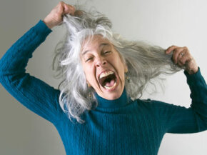 This woman had dark hair when the day started. See more stress relief pictures.