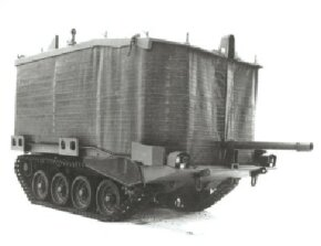 ©2007 Publications International, Ltd.                              Swedish turretless Stridsvagn 103 with flotation screen raised.
