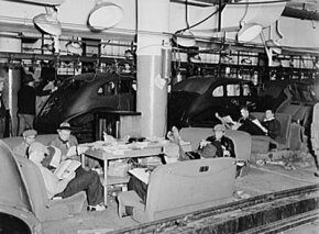 Strikers relax near the line during the 1937 Flint Sit-down Strike.