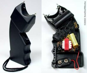 The inside of a basic stun gun. See more pictures of guns and weapons.