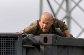 "Bruce Willis during a ""close-up"" scene in ""Live Free or Die Hard."""