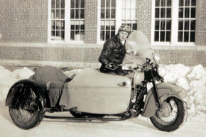 This undated photo shows Neil Hultman riding a motorcycle with a sidecar in Sturgis, S.D. Hultman is the second-oldest surviving member of the Jackpine Gypsies, the motorcycle club that started what is now the Sturgis Motorcycle Rally.