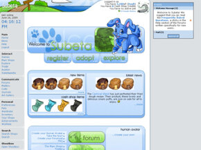 Subeta is a social networking site on which you can adopt virtual pets. See more pictures of popular web sites.