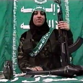A mother of two from Gaza City makes a video statement for Hamas days before blowing herself up, killing four Israelis and wounding seven others.